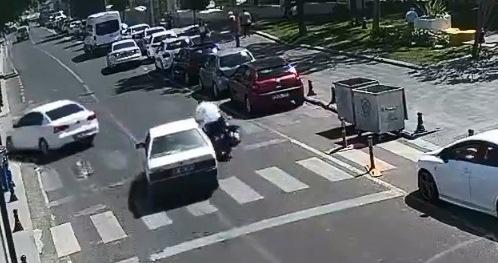 TEKİRDAĞ'DAKİ MOTOR KAZASI KAMERADA